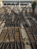 Steel labyrinths (2). Railroad in Toronto, Canada Stock Image