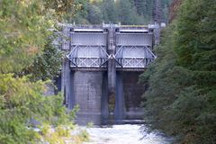 Steel levee dam on the Oregon river. During the summer afternoon royalty free stock photos