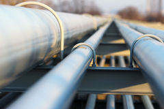 steel light pipeline in oil refinery royalty free stock images