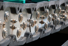 Steel Link Chain. A steel chain conveyor system for controlling Royalty Free Stock Photos