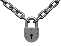 Steel lock hinging on chain Royalty Free Stock Photos