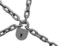 Steel lock hinging on chains Royalty Free Stock Photo