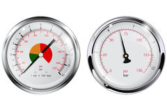 Steel Manometer for water pipes. Chrome frame. Stock Image