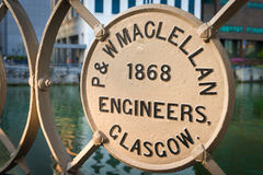 Steel manufacturers plate on the historic Cavenagh Bridge Royalty Free Stock Photos