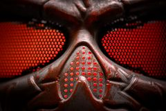 Steel mask covered with rust closeup Stock Photo