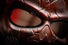 Steel mask covered with rust closeup Stock Images