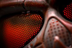 Steel mask covered with rust closeup Stock Photography