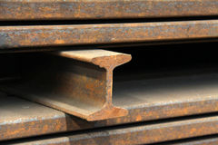 Steel materials products in cross section. In a factory Stock Photo