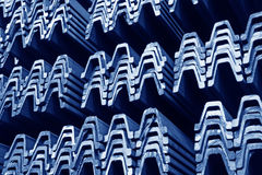 Steel materials products in cross section. In a factory Royalty Free Stock Photos