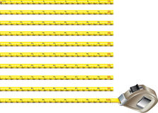 Steel measure tape - inches version Royalty Free Stock Photo