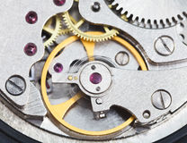 Steel mechanical clockwork of retro watch Stock Photography