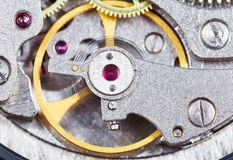 Steel mechanical movement of retro watch Royalty Free Stock Images