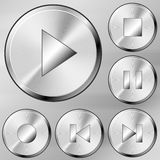 Steel media buttons. Media buttons set in brushed steel style Royalty Free Illustration