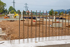 Steel mesh at construction site Stock Photo