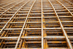 Steel mesh at construction site Stock Image