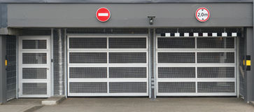 Steel mesh gates  in underground parking Royalty Free Stock Photos