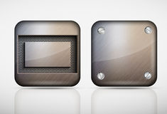 Steel metal app icons Royalty Free Stock Images