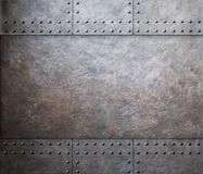 Steel metal armor background with rivets Stock Image