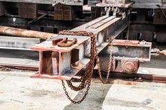 Steel Metal Beams on Rails: Rusted Royalty Free Stock Photo