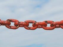 Steel metal chain links segment sky background Stock Image