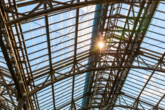 Steel metal design with a glass roof. Stock Photo