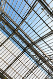 Steel metal design with a glass roof. Royalty Free Stock Image