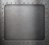 Steel metal frame with rivets Stock Photo