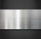 Steel metal plate over comb grate background Royalty Free Stock Photo