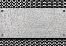 Steel metal plates on black brushed background, 3d, illustration. Shiny aluminum or steel plate is mounted on the rusty wall, 3d, illustration Royalty Free Stock Photo