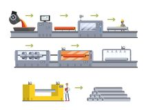 Steel or metal production process. Metallurgy industry. Steel or metal production process on the automated machinery line. Metallurgy industry. Melting and stock illustration