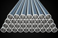 Steel metal profiles in pipe shape - industry concept. Steel metal profiles in pipe shape isolated on black - industry concept. 3D rendered illustration Royalty Free Stock Photos