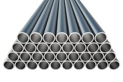 Steel metal profiles in pipe shape - industry concept. Steel metal profiles in pipe shape isolated on white - industry concept. 3D rendered illustration Royalty Free Stock Photos