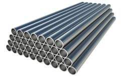 Steel metal profiles in pipe shape - industry concept. Steel metal profiles in pipe shape isolated on white - industry concept. 3D rendered illustration Royalty Free Stock Photography
