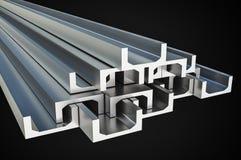 Steel metal profiles in u-bar shape - industry concept Stock Image