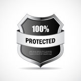 Steel metal shield icon. Steel metal shield vector icon Stock Photography