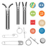 Steel metal zipper and sewing tools accessories collection. Realistic buttons and zippers set. Royalty Free Stock Photo