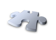 steel metallic Jigsaw piece  Royalty Free Stock Images
