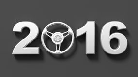 Steel 2015. 2016 metallic numbers with steering wheel as symbol Royalty Free Stock Photography