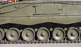 Steel Military tank, detail of tracks or wheels of the off-road royalty free stock photography