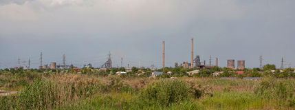 Steel mill factory panorama Stock Photos