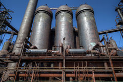 Steel mill silos Royalty Free Stock Photo