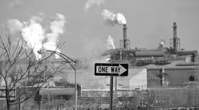Steel Mills of Cleveland, Ohio, USA. Smoky steel mills of , Cleveland, Ohio, USA. One way sign Royalty Free Stock Photography