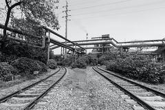 Steel mills of the train tunnel Royalty Free Stock Photo
