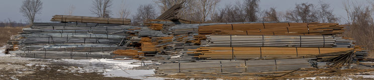Steel mountain. A pile of steel along side of some railway tracks in shelby ohio Stock Photography