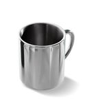 Steel mug isolated on white Stock Photo