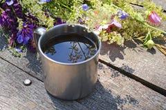 Steel mug for tea Stock Photography