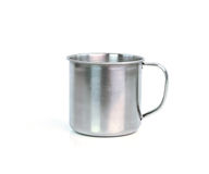 Steel Mug on white background Royalty Free Stock Image