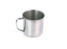 Steel Mug on white background Royalty Free Stock Photography