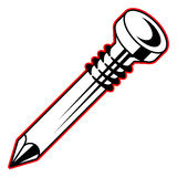 Steel nail, black and white, with red outline vector. Illustration royalty free illustration