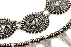 Steel Necklace with crystals, a fragment Royalty Free Stock Photo
